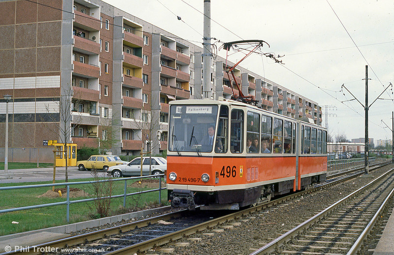Berlin KT4D 496 at Falkenberger Chaussee on 9th April 1991.