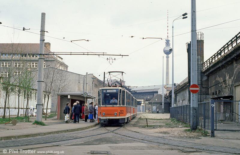Berlin Tatra KT4D 302 at Am Kupfergraben on 9th April 1991.