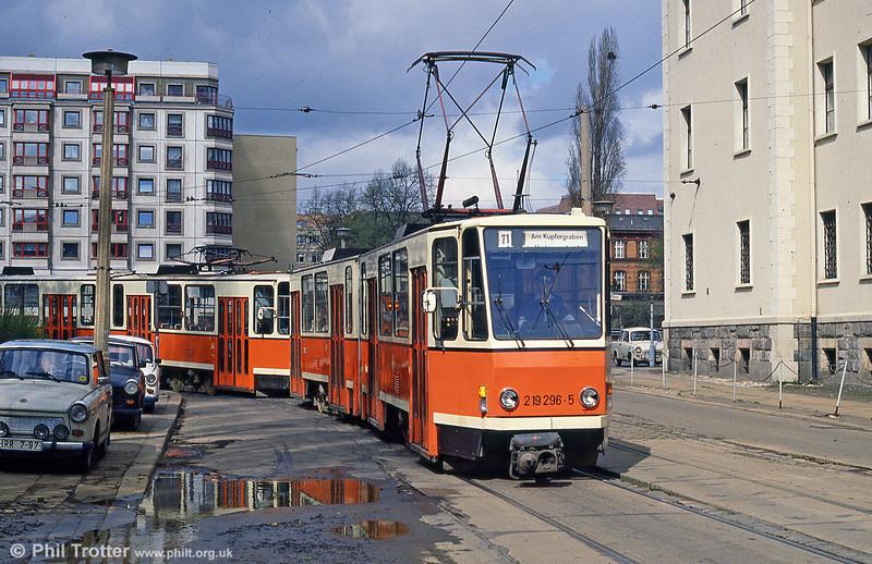 Berlin Tatra KT4D 296 at Am Kupfergraben on 9th April 1991.