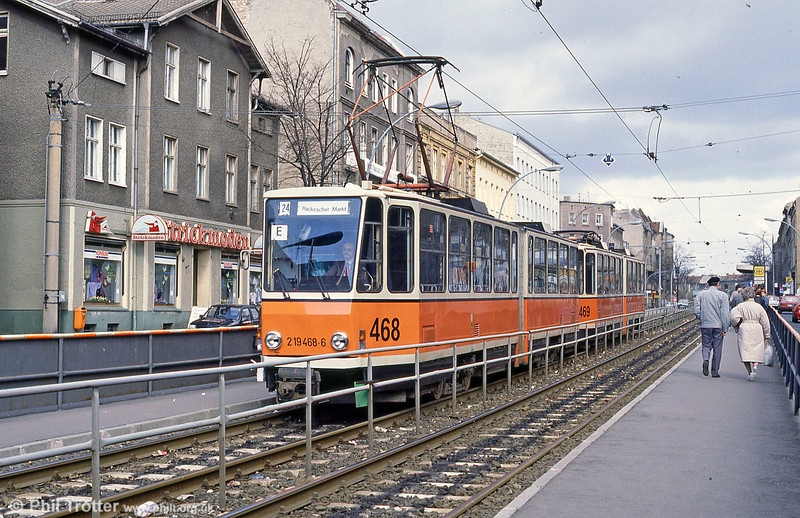 Berlin 468 at Prerower Platz on 9th April 1991.