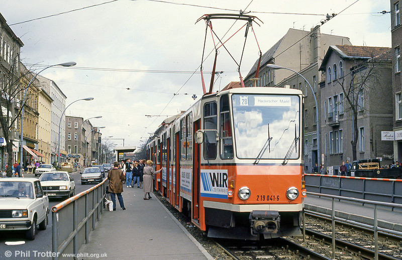 Berlin 041 at Prerower Platz on 9th April 1991.