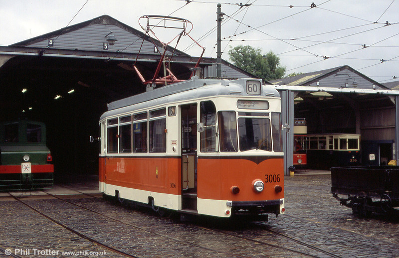 1969-built former Berlin 3006 seen in the depot yard at the National Tramway Museum, UK on 20th June 2004.