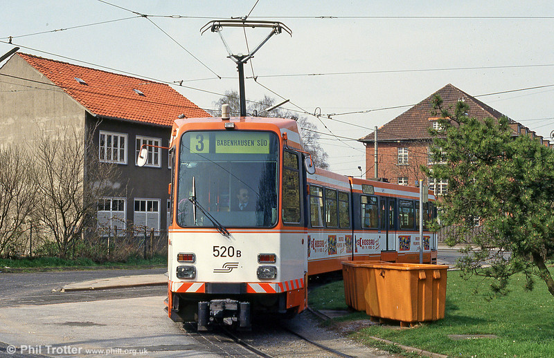 Bielefeld 520 at Sieker Mitte terminus on 11th April 1993.