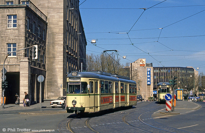 Bochum Duewag car 14 at the Rathaus on 12th April 1991.