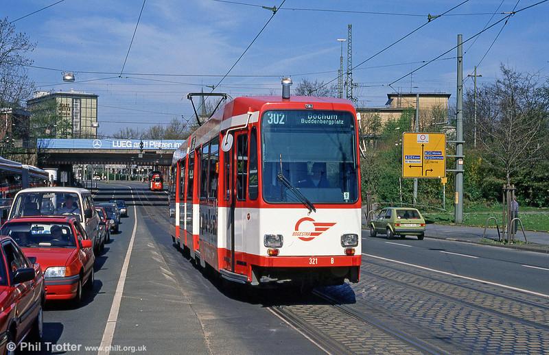 Bochum Duewag car 321 at the Hauptbahnhof on 12th April 1991.