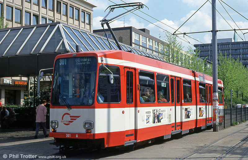 Bochum Duewag car 301 at Musiktheater on 23rd April 1993.