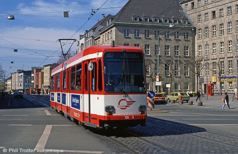 Bochum Duewag car 320 at the Rathaus on 12th April 1991.