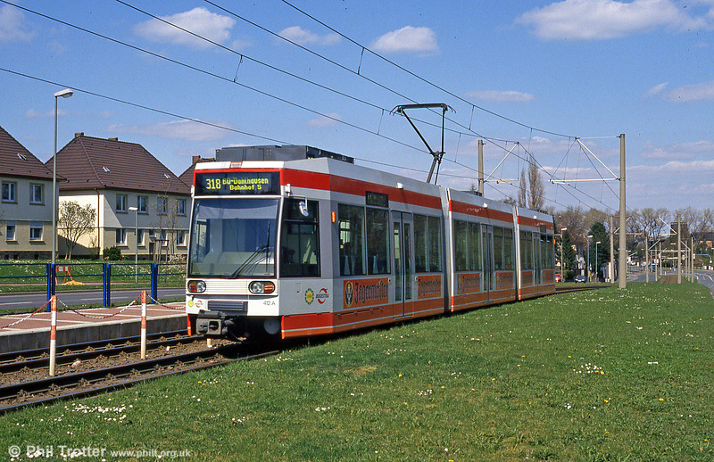 Bochum car 412 on the reserved section at Rottmannstrasse on 18th April 1994.