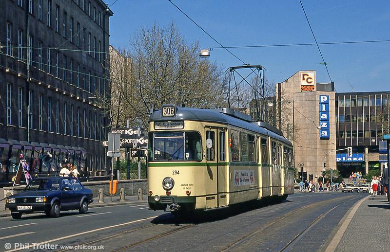 Bochum Duewag car 294 at the Rathaus on 12th April 1991.