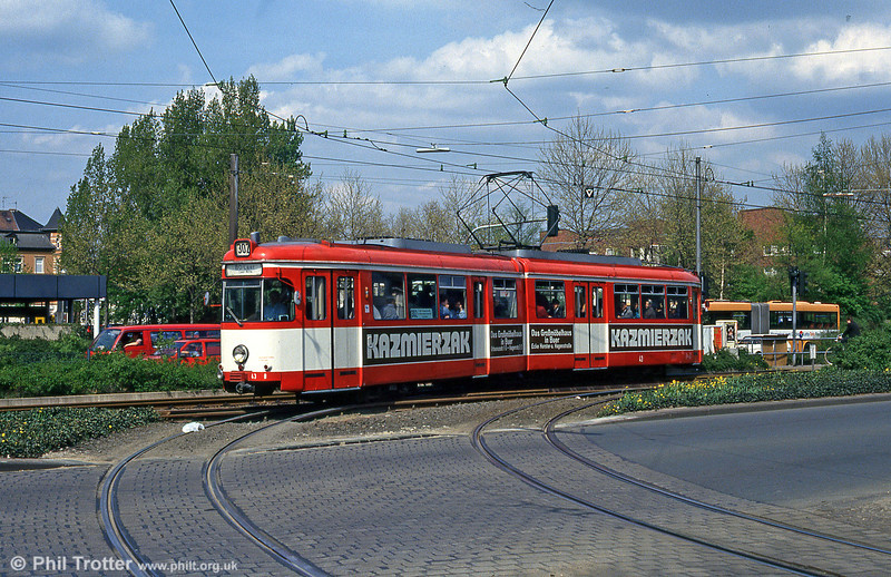 Bochum Duewag car 43 at Musiktheater on 23rd April 1993.