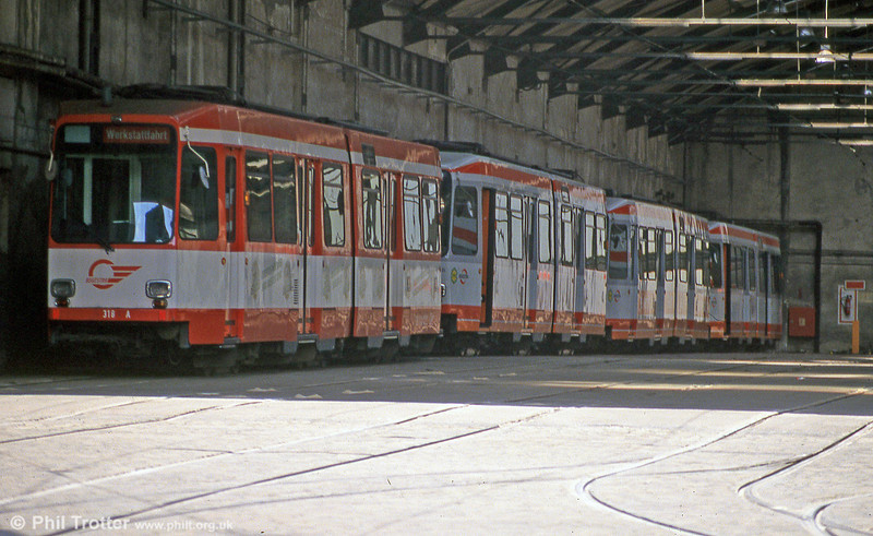 Bochum Duewag car 318 in Gelsenkirchen depot on 23rd April 1993.
