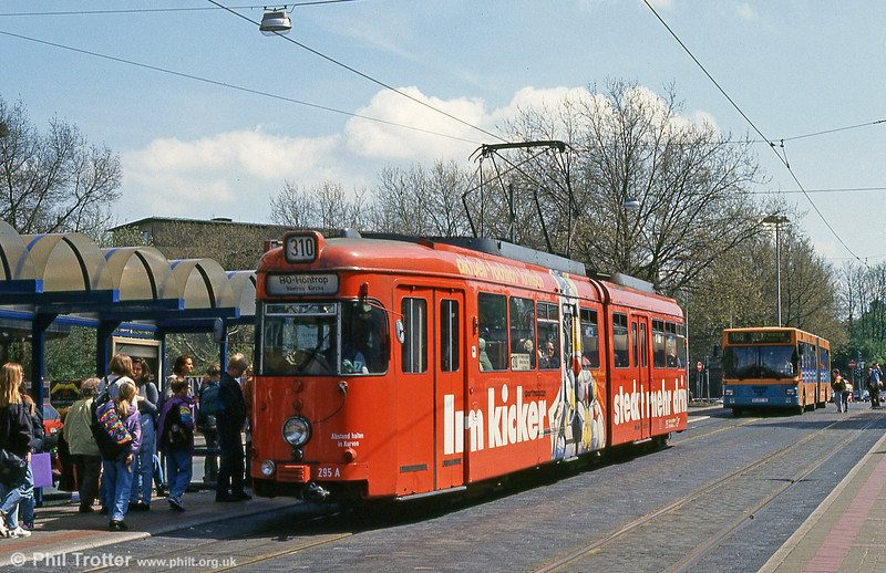 Bochum Duewag car 295 at the Hauptbahnhof on 12th April 1991.