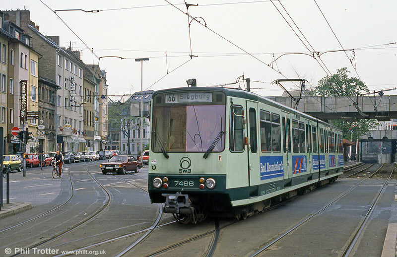 Bonn Stadtbahn car 7466 at Oxfordstrasse on 1st April 1991.