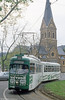Bonn Duewag car 235 in front of the Church of St. Quirinus at Dottendorf terminus on 17th April 1994.