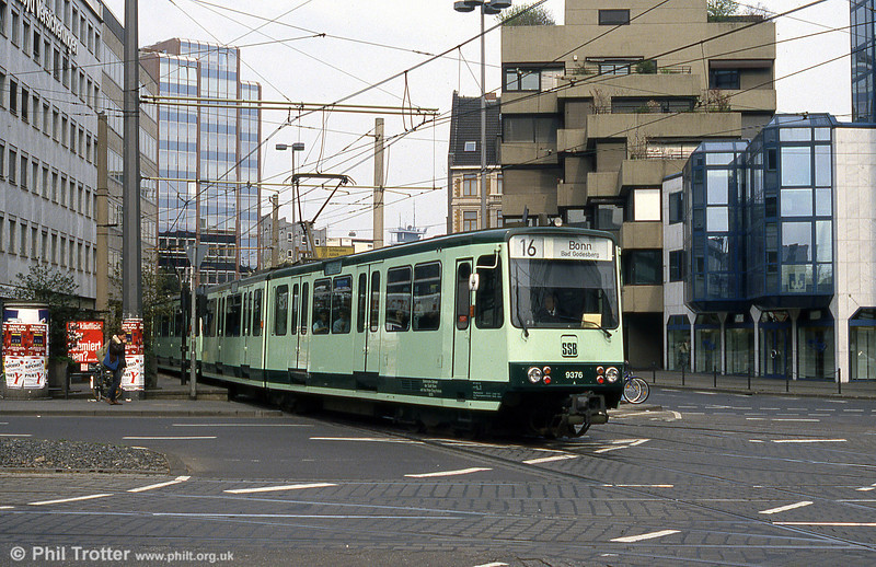 Bonn Stadtbahn car 9376 at Cologne, Barbarossaplatz on 16th April 1994.