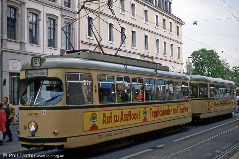 Bonn Duewag car 205 at Thomas Mann Strasse on 21st April 1994.