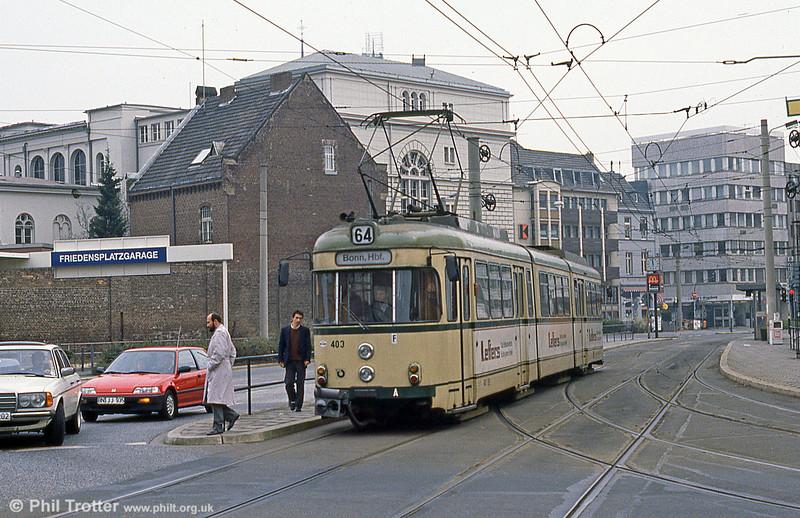 Bonn car 403 at Oxfordstrasse on 1st April 1991.
