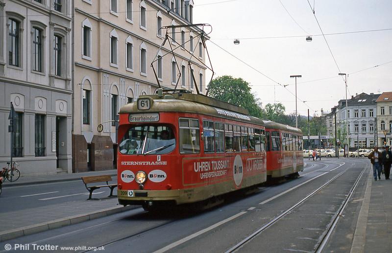 Bonn Duewag car 209 at Thomas Mann Strasse on 21st April 1994.