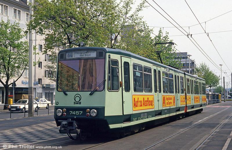 Bonn Stadtbahn car 7457 at Bertha-von-Suttner-Platz on 17th April 1994.