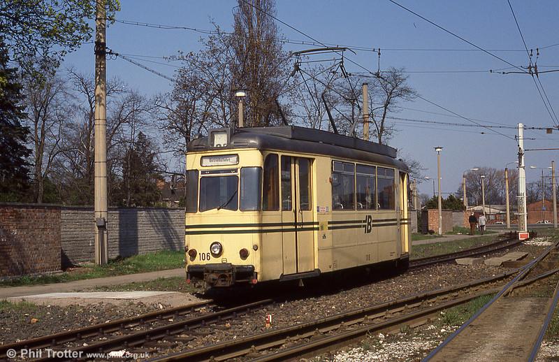 Brandenburg Gotha car 106 of 1959 at the Hbf terminus.