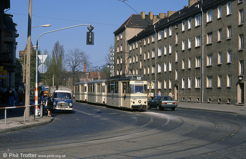 1958 Gotha T57 car 105 waits to turn from Jacobstrasse into Grosse Gartenstrasse.