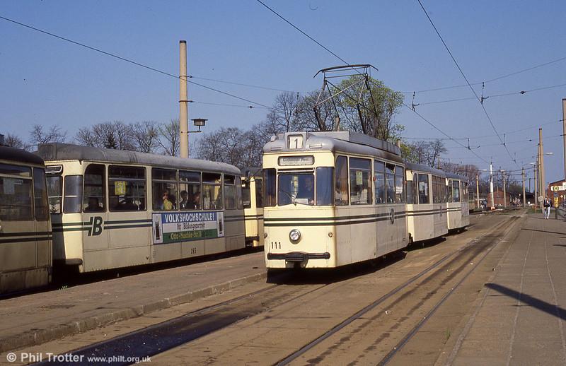 Gotha car 111 waits to leave the Hauptbahnhof terminus.