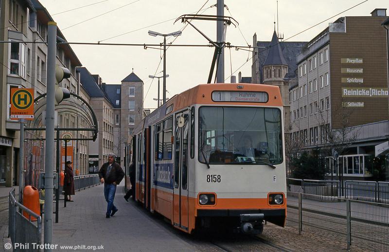Braunschweig car 8158 at Hagnmarkt on 10th April 1993.