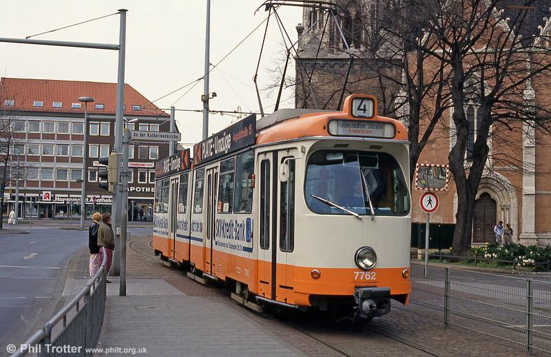 Braunschweig car 7762 at Bohlweg on 10th April 1993.