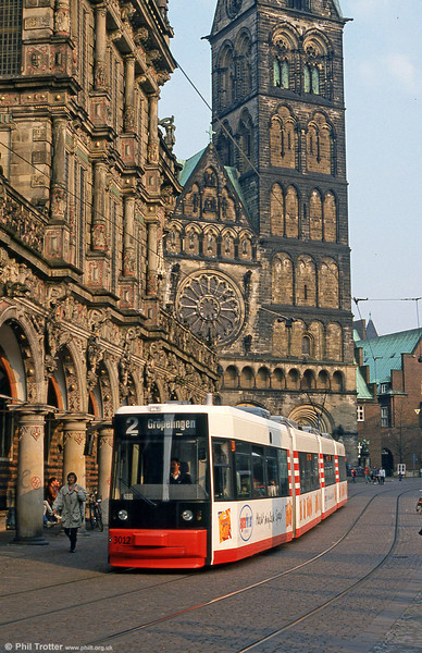 Bremen MAN/AEG low floor car 3012 at the Rathaus on 20th April 1994.