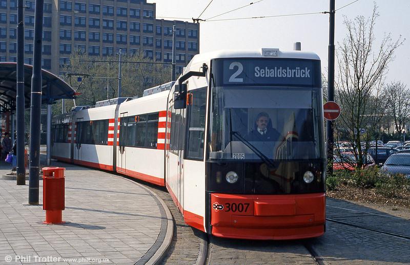 Bremen MAN/AEG low floor car 3007 at Domsheide on 20th April 1994.