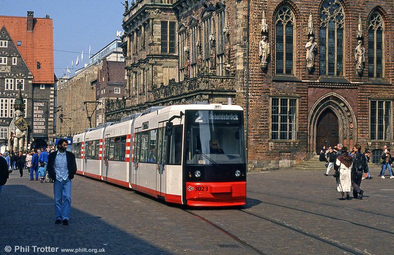 One of Bremen's new low floor cars, 3023 passes the Rathaus on 20th April 1994.