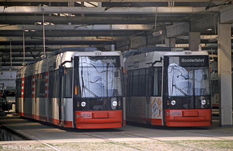 Bremen MAN/AEG low floor cars 3009 and 3022 at Gropelingen depot on 20th April 1994.