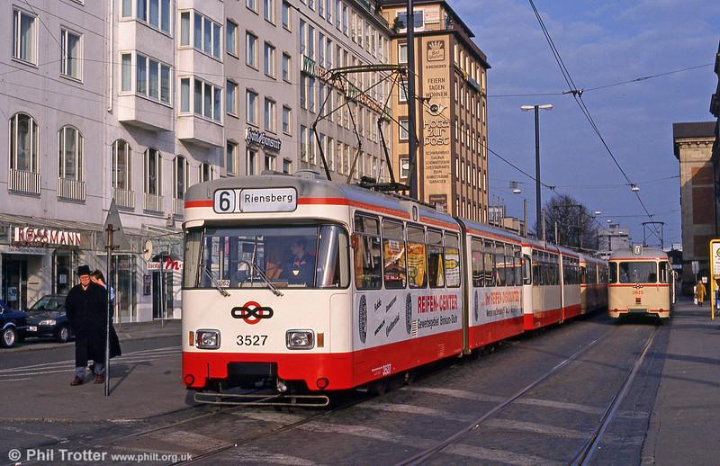 Bremen Wegmann car 3527 at the Hauptbahnhof on 11th April 1993.
