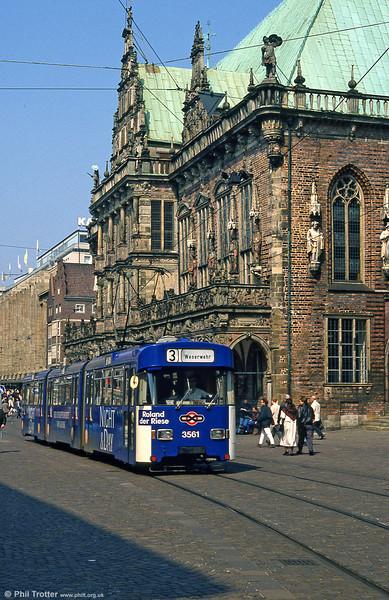 Bremen Wegmann car 3561 at the Rathaus on 11th April 1993.