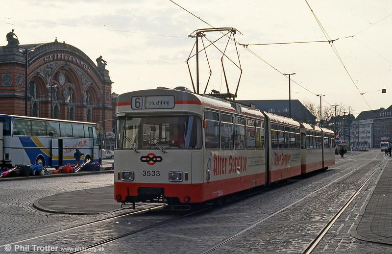 Bremen Wegmann car 3533 at the Hauptbahnhof on 11th April 1993.