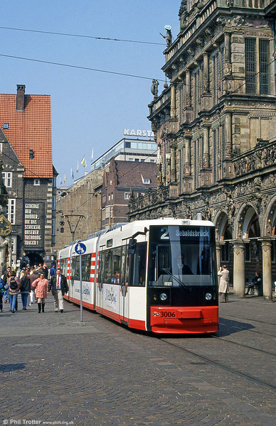 Bremen MAN/AEG low floor car 3006 at the Rathaus on 20th April 1994.