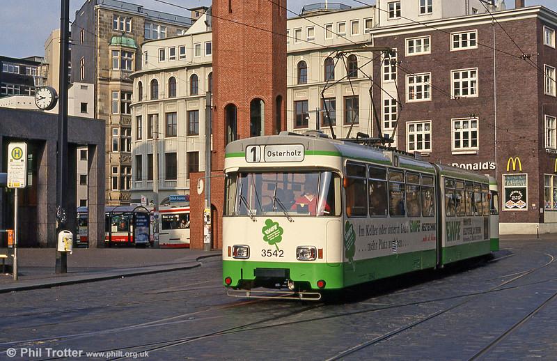 Bremen Wegmann car 3542 at Domsheide on 11th April 1993.