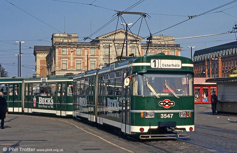 Bremen Wegmann car 3547 at the Hauptbahnhof on 11th April 1993.