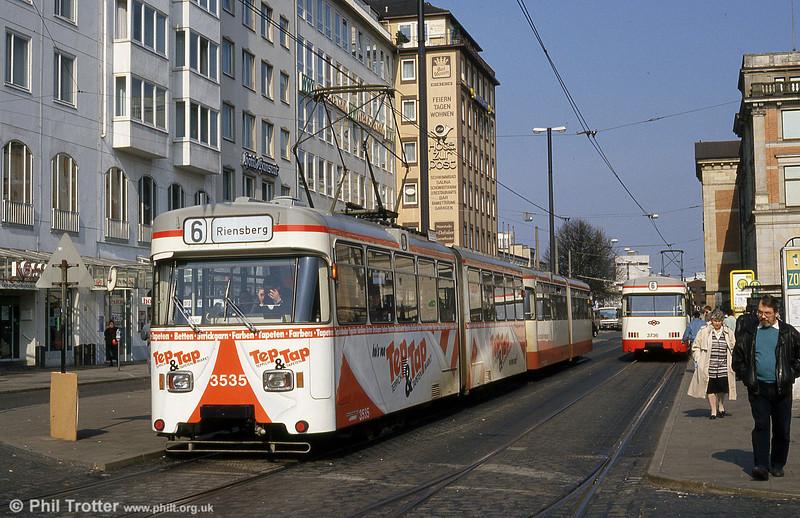 Bremen Wegmann car 3535 at the Hauptbahnhof on 20th April 1994.