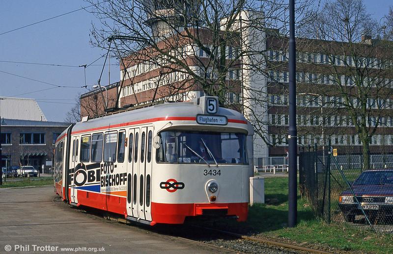 Bremen Hansa car 3434 at Hunefeldstrasse on 20th April 1994.