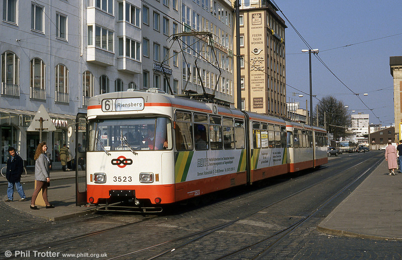 Bremen Wegmann car 3523 at the Hauptbahnhof on 20th April 1994.