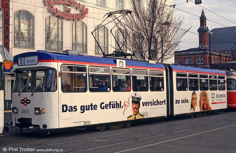 Bremen Wegmann car 3551 at the Hauptbahnhof on 11th April 1993.