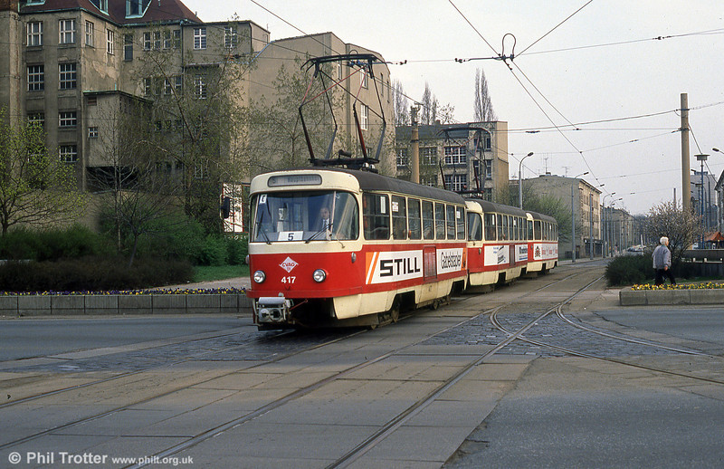 Chemnitz Tatra T3D no. 417 of 1970 at Theatrplatz.