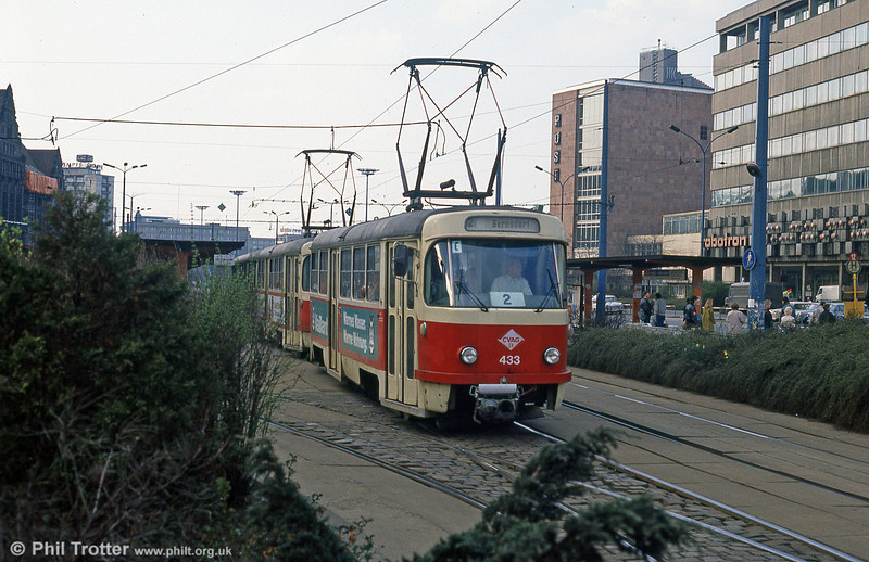 Chemnitz Tatra T3D no. 433 at Theatrplatz.