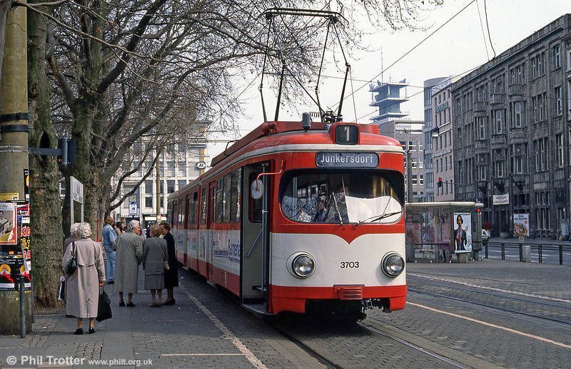 Duewag car 3703 at Neumarkt on 1st April 1991.
