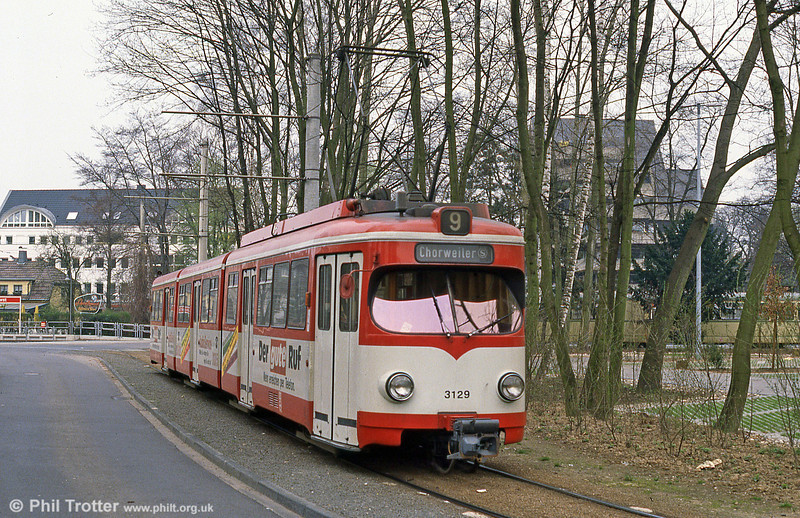 Duewag car 3129 at Konigsforst on 1st April 1991.