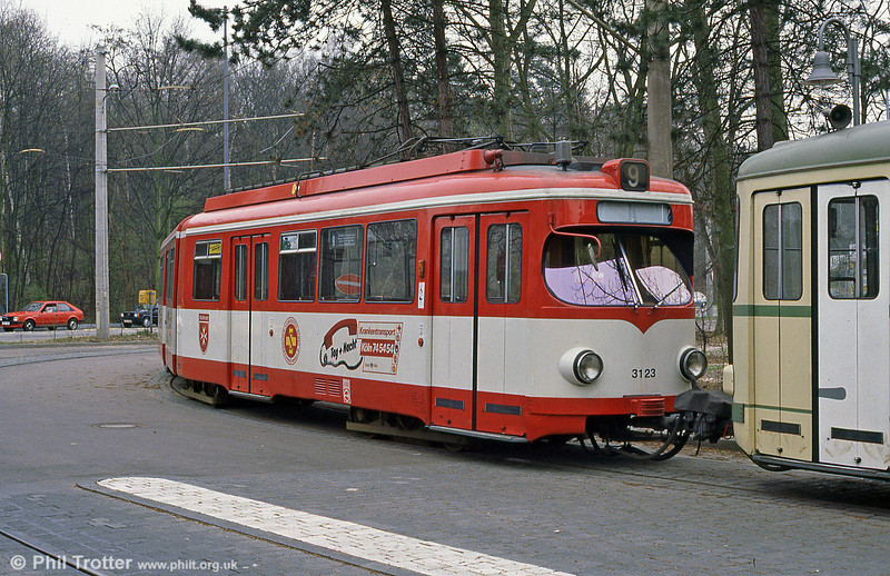 Duewag car 3123 at Konigsforst on 1st April 1991.