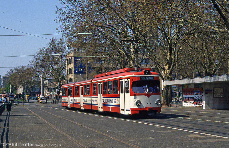 Duewag car 3819 at Neumarkt on 1st April 1991.