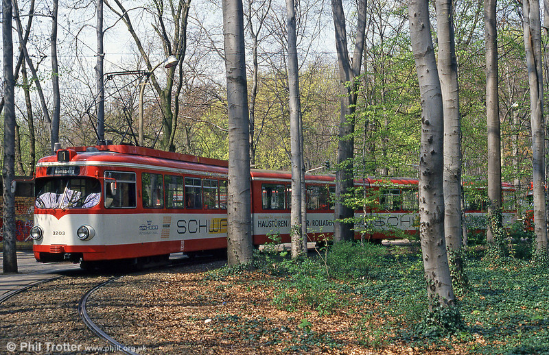 Duewag car 3203 at Junkersdorf on 16th April 1994.