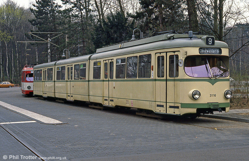 Duewag car 3116 at Konigsforst on 1st April 1991.